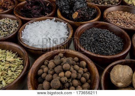Flake Salt and Black Sesame Seeds Among Other Assorted Spices