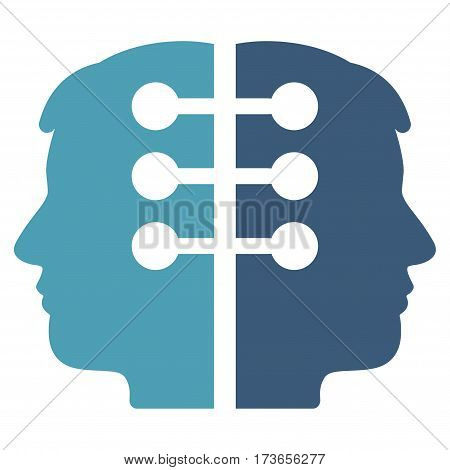 Dual Head Interface vector icon. Flat bicolor cyan and blue symbol. Pictogram is isolated on a white background. Designed for web and software interfaces.
