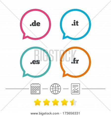 Top-level internet domain icons. De, It, Es and Fr symbols. Unique national DNS names. Calendar, internet globe and report linear icons. Star vote ranking. Vector