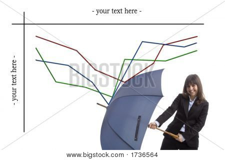 Business Sales Woman Holding Umbrella With Sales Chart