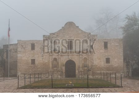 Front of on Foggy Morning before tourists come out to explore