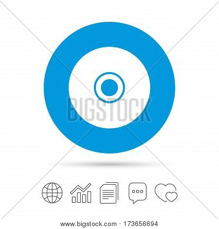 CD or DVD sign icon. Compact disc symbol. Copy files, chat speech bubble and chart web icons. Vector
