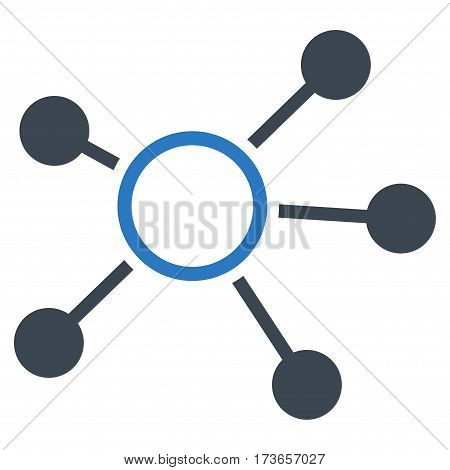 Connections vector icon. Flat bicolor smooth blue symbol. Pictogram is isolated on a white background. Designed for web and software interfaces.