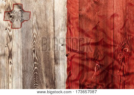 National Flag Of Malta, Wooden Background