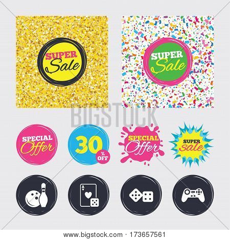 Gold glitter and confetti backgrounds. Covers, posters and flyers design. Bowling and Casino icons. Video game joystick and playing card with dice symbols. Entertainment signs. Sale banners. Vector