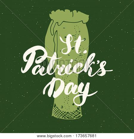 Happy St Patrick's Day Vintage greeting card Hand lettering on beer cup silhouette Irish holiday grunge textured retro design vector illustration.