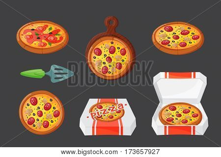 Italian cook pizza icons vector illustration. Pizzeria cartoon dinner icon fresh food. Fast party meal ingredients pepperoni element delicious symbols.