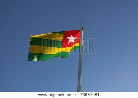 National Flag Of Togo On A Flagpole