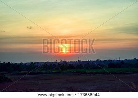Scenic sun is below the horizon in the evening.