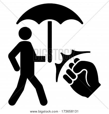 Crime Coverage vector icon. Flat black symbol. Pictogram is isolated on a white background. Designed for web and software interfaces.