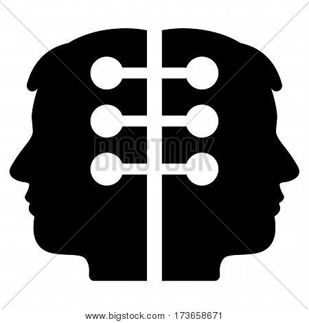 Dual Head Interface vector icon. Flat black symbol. Pictogram is isolated on a white background. Designed for web and software interfaces.