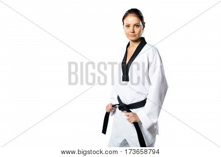 Beautiful woman in kimono on white background