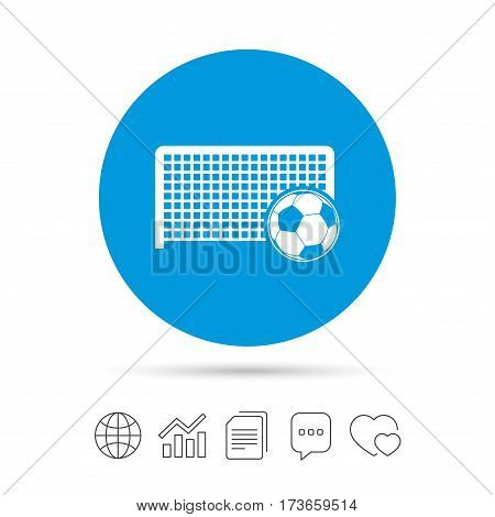 Football gate and ball sign icon. Soccer Sport goalkeeper symbol. Copy files, chat speech bubble and chart web icons. Vector