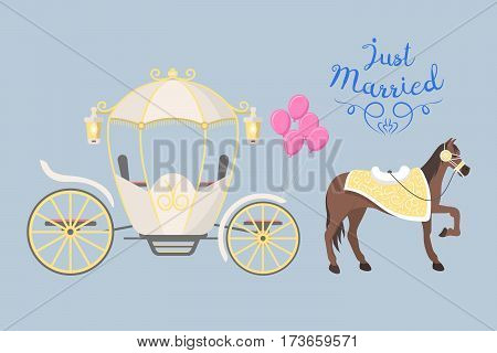 Fairy tale vintage carriage decoration with cute fashion horse royal element and princess retro wedding coach with classic elegant accessory vector illustration. Travel ornate antique romance wheel.