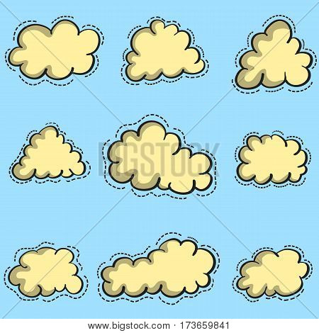 Vector art of cloud set collection stock