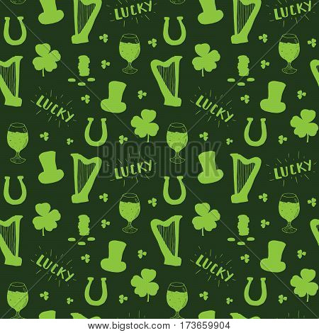 St Patrick's Day hand drawn seamless pattern with leprechaun hat coins beer cup four leaf clover horseshoe and celtic harp vector illustration.