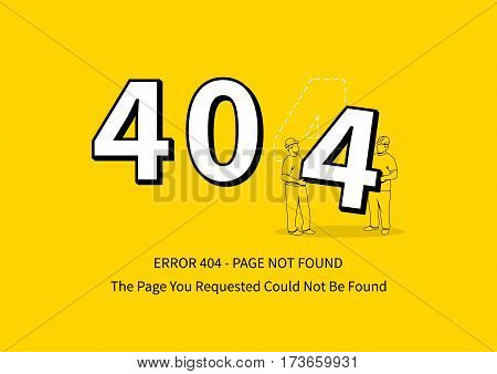 Error 404 page with workers vector illustration. Broken web page graphic design. Two loaders carry 4 number. Error 404 page not found creative template.