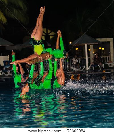 Cayo Coco island, Memories Caribe resort, Cuba, July 3, 2016, nice amazing, gorgeous view of live performance by hotel entertainment team at night water show