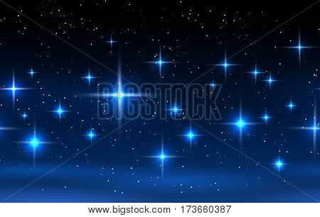 Night sky horizontal seamless pattern. Vector blue background with glowing stars vector illustration