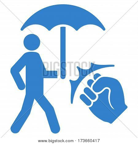 Crime Coverage vector icon. Flat cobalt symbol. Pictogram is isolated on a white background. Designed for web and software interfaces.