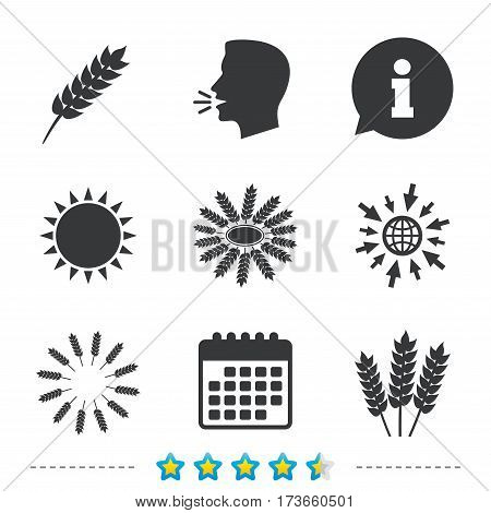 Agricultural icons. Gluten free or No gluten signs. Wreath of Wheat corn symbol. Information, go to web and calendar icons. Sun and loud speak symbol. Vector