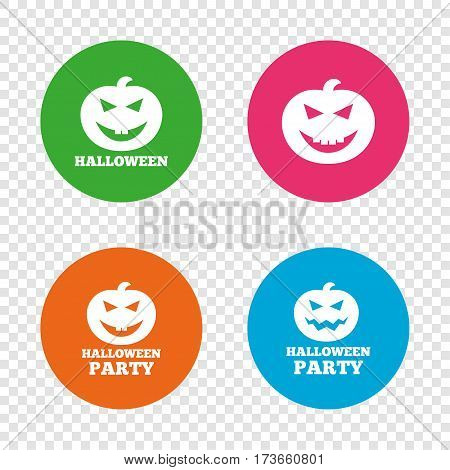 Halloween pumpkin icons. Halloween party sign symbol. All Hallows Day celebration. Round buttons on transparent background. Vector