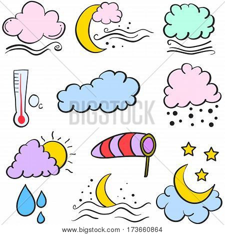 Vector art of weather element doodle collection stock