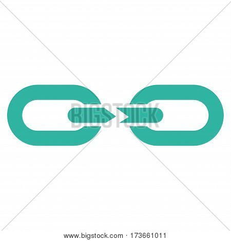 Chain Break vector icon. Flat cyan symbol. Pictogram is isolated on a white background. Designed for web and software interfaces.