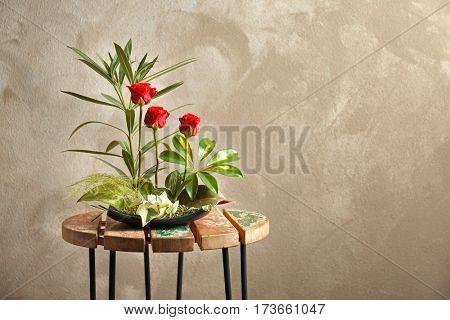 Flower arrangement on a color background