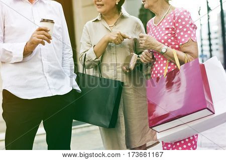 Photo Gradient Style with Senior Adult Shopping Friendship Lifestyle