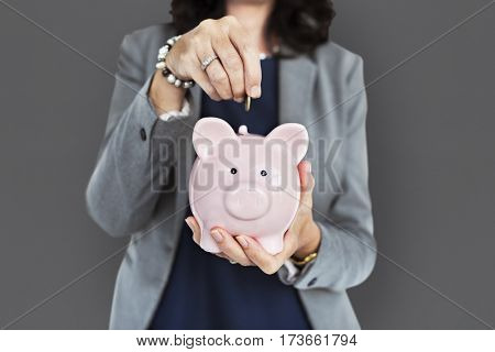 Business Woman Piggy Bank