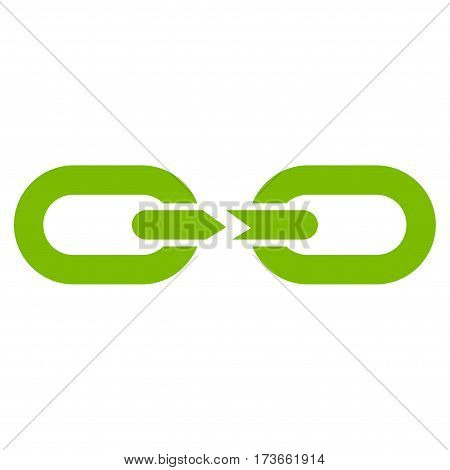Chain Break vector icon. Flat eco green symbol. Pictogram is isolated on a white background. Designed for web and software interfaces.