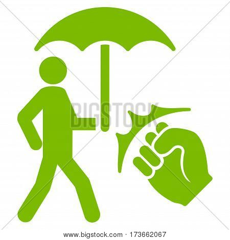 Crime Coverage vector icon. Flat eco green symbol. Pictogram is isolated on a white background. Designed for web and software interfaces.