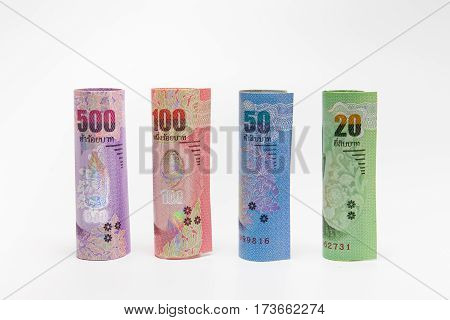 Thai Banknotes Money Background.