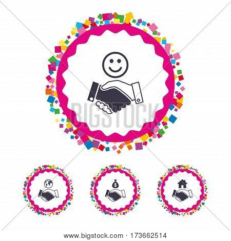 Web buttons with confetti pieces. Handshake icons. World, Smile happy face and house building symbol. Dollar cash money bag. Amicable agreement. Bright stylish design. Vector