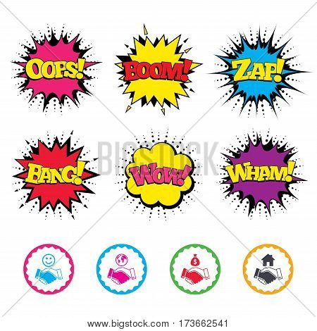Comic Wow, Oops, Boom and Wham sound effects. Handshake icons. World, Smile happy face and house building symbol. Dollar cash money bag. Amicable agreement. Zap speech bubbles in pop art. Vector
