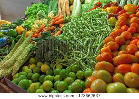 Fresh and organic vegetables at farmers market in Sri lanka.