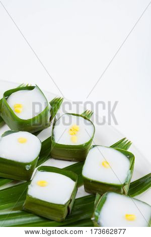 Thai Dessert Pudding With Coconut Topping