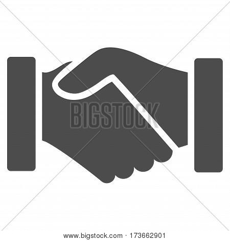 Acquisition Handshake vector icon. Flat gray symbol. Pictogram is isolated on a white background. Designed for web and software interfaces.
