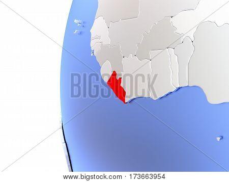 Liberia On Metallic Globe
