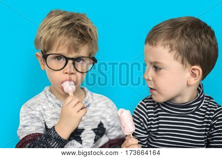 Little Boys Eating Ice Cream Cute Adorable