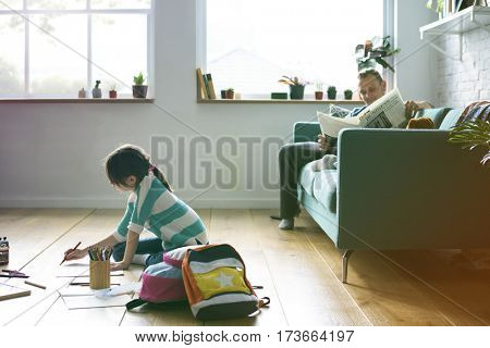 Photo Gradient Style with Little Kid Drawing Sketching Cute Adorable