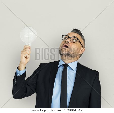 Caucasian Business Man Lightbulb