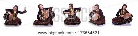 Young azeri woman playing traditional drum nagara