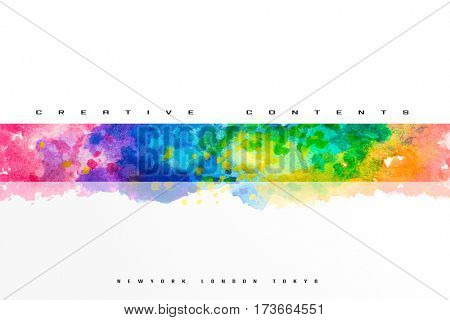 Cover design or header image for creative content or profile. Water color art in center.