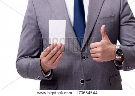 Businessman with blank card isolated on white background