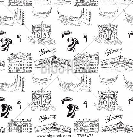 Venice Italy seamless pattern. Hand drawn sketch with gondolas gondolier clothes houses market bridge and cafe table with chairs. Doodle drawing isolated on white