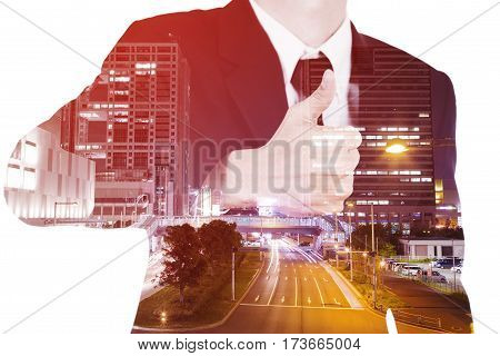Double Exposure Of Business Man Showing Thumbs Up Gesture Against City Isolated On White Background