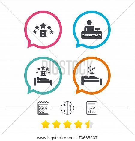 Five stars hotel icons. Travel rest place symbols. Human sleep in bed sign. Hotel check-in registration or reception. Calendar, internet globe and report linear icons. Star vote ranking. Vector