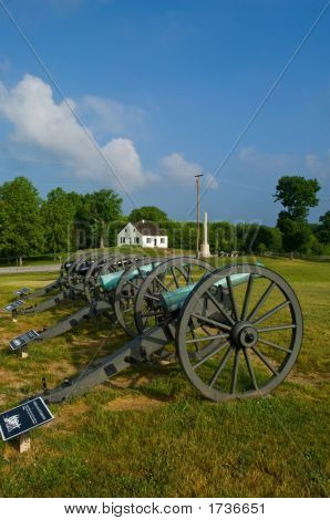Dunker Church And Civil War Cannon Line